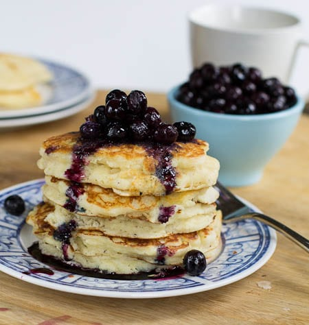 Buttermilk Pancakes with Blueberry Compote - Spicy Southern Kitchen
